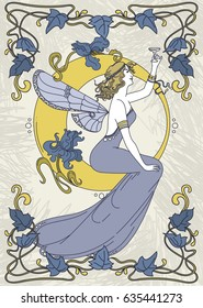 beautiful poster in art nouveau style with fairy woman and moon and floral frame, can be used for party invitations, blue and yellow colors, vector illustration