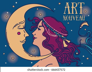 beautiful poster in art nouveau style with woman profile and moon on night starry background, can be used for retro party invitation, vector illustration