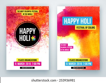 Beautiful poster for Indian festival Happy Holi with colorful watercolor blots.