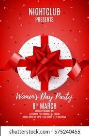 Beautiful poster for Women's Day party. Top view on white gift box with red bow. Vector illustration with confetti and satin ribbon. Invitation to nightclub.