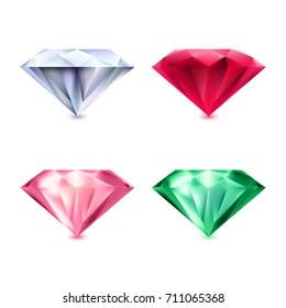 Beautiful precious stones isolated on white background. Magic gemstone. Precious stones icon. Luxury symbol. Vector illustration.