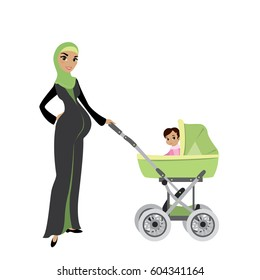 beautiful Pregnant Muslim woman with a baby in pram,isolated on white background,stock cartoon vector illustration