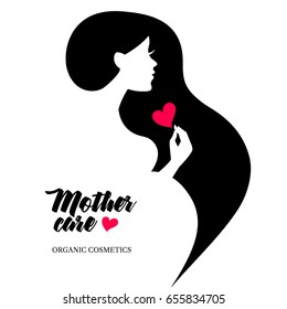 Beautiful pregnant profile mother silhouette. Woman vector illustration. Happy Mothers Day card