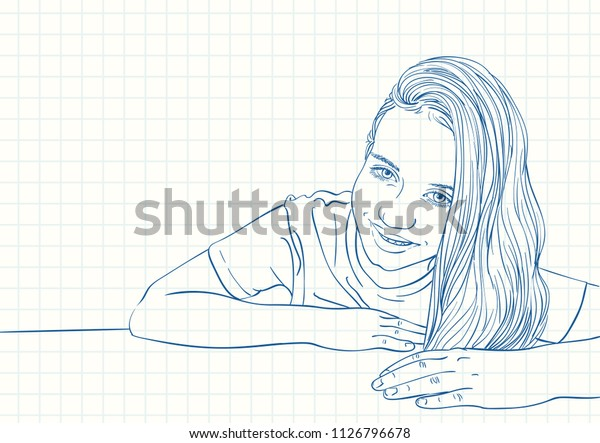 Portrait Of Stylish Serious Girl With Long Hair Stock