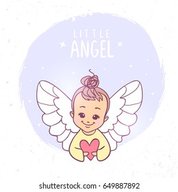 Beautiful and pretty cartoon little angel with heart. Vector illustration. Children's illustration