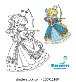Beautiful princess archer color and outlined picture for coloring book on white background