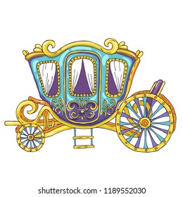 Beautiful princess carriage - hand drawn line vector illustration