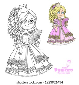 Beautiful princess with fan in hand color and outline for coloring isolated on white background