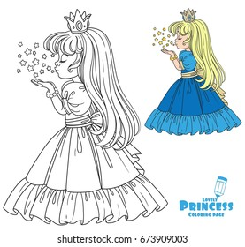 Beautiful princess girl blows off the magic shiny stars color and outlined picture for coloring book on white background