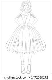 Beautiful princess girl with long curly hair in a magnificent dress. Coloring page. Coloring book for adults.