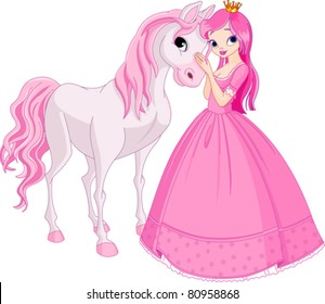 The Beautiful princess and her cute horse