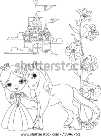 Beautiful Princess Her Cute Unicorn Coloring Stock Vektorgrafik