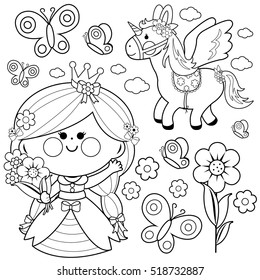 Beautiful princess holding spring flowers, unicorn and butterflies vector set.