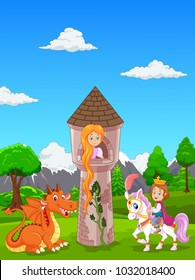 Beautiful princess with long hair at a castle, and a prince riding a horse