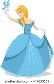 Beautiful Princess with Magic Bird Vector Illustration - Happy fairytale noble woman in royal dress