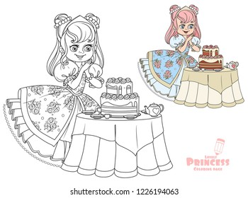 Beautiful princess near the table laid for tea drinking with a big delicious cake color and outlined for coloring book isolated on white background