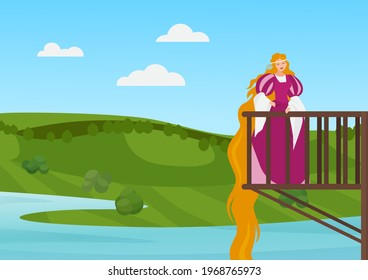 Beautiful princess on balcony vector illustration. Cartoon happy rapunzel character with long hair standing on balcony of magic palace or medieval castle and smiling, fairy tale story background