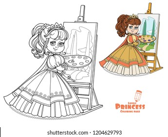 Beautiful princess with a palette, brush and easel color and outlined picture for coloring book on white background