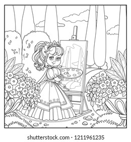 Beautiful princess with a palette, brush and easel draws in the park outlined picture for coloring book on white background