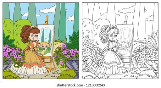 Beautiful princess with a palette, brush and easel draws in the park color and outlined picture for coloring book on white background