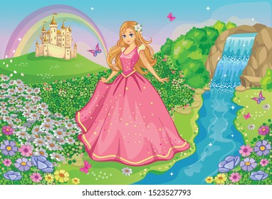 A beautiful Princess in a pink dress. Fairytale and romantic story. Fabulous background with flower meadow, castle, rainbow, waterfall and river. Wonderland. Cartoon illustration for children. Vector.