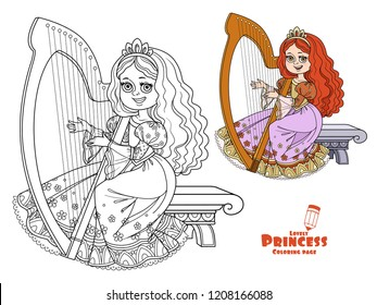 Beautiful princess playing the celtic harp color and outlined picture for coloring book on white background