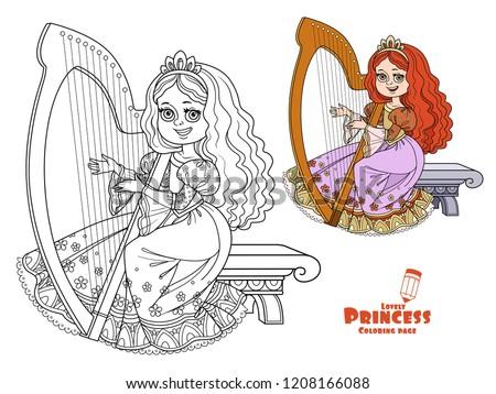 Beautiful Princess Playing Celtic Harp Color Stock Vector (Royalty ...