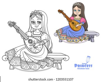 Beautiful princess sits on a bench and plays the lute color and outlined picture for coloring book on white background