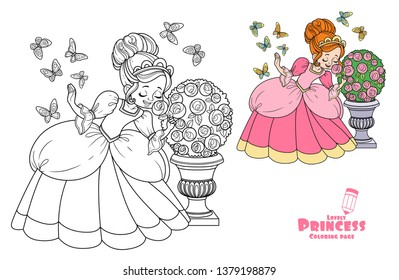 Beautiful princess sniffs a rose flower and butterflies flutter around color and outlined for coloring book isolated on white background