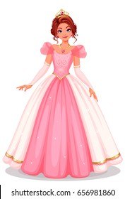 Beautiful princess standing in beautiful dress vector