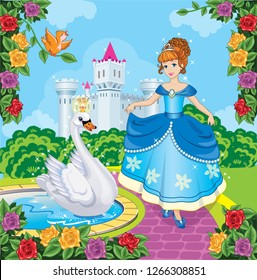 Beautiful Princess with swan. Cute fairy. Fairytale background with flower meadow, castle. Blossoming garden. Wonderland. Magical landscape. Children's cartoon illustration. Romantic story. Vector.