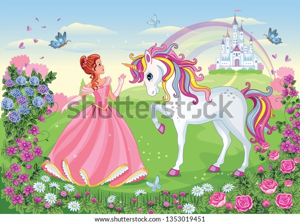 Image Vectorielle De Stock De Belle Princesse Et Licorne