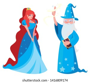 beautiful princess with wizard of tales characters
