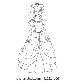 Beautiful princess, young princess in dress with spangles, vector illustration, coloring book page for children