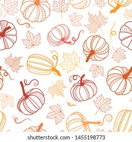 Beautiful pumpkin halloween thanksgiving seamless pattern, cute cartoon pumpkins hand drawn background, great for seasonal textile prints, holiday banners, backdrops or wallpapers - vector surface