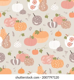 Beautiful pumpkin halloween thanksgiving seamless pattern, cute pretty pumpkin background, for seasonal textile prints, holiday banners, backdrops, wallpapers and giftware
