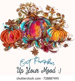Beautiful pumpkins in watercolor colorful style. Eat pumpkin up your mood