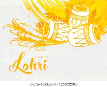 Beautiful Punjabi Festival Indian Grungy Background. Lohri Traditional Doodle Pattern. Happy Lohri.