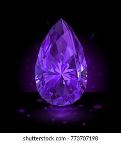 Beautiful purple gemstone isolated on black background. Vector illustration.