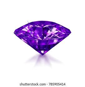 Beautiful purple gemstone isolated on white background. Vector illustration.