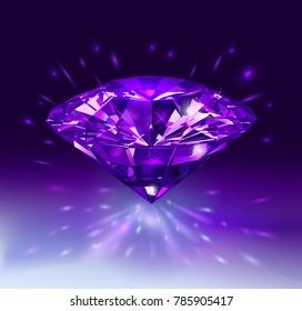 Beautiful purple gemstone isolated on bright purple background. Vector illustration.