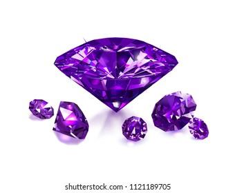 Beautiful purple gemstones isolated on white background. Vector illustration.