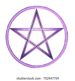 Beautiful purple pentagram in a circle. Vector illustration