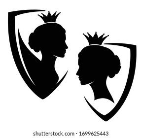 beautiful queen or princess profile head in heraldic shield - royal coat of arms black and white evctor design set