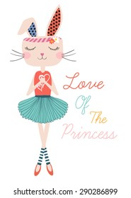 Beautiful rabbit .Cute girl vector design.T-shirt Graphic.Animal carton character.Princess Slogan.