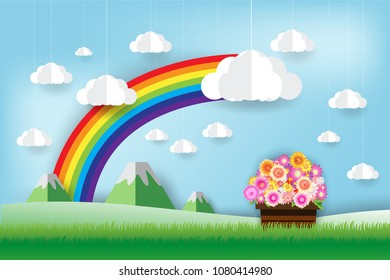 beautiful rainbow and flowers  in the sky,  paper art style
