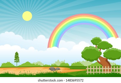 Beautiful Rainbow Sky with Green Meadow Mountain Nature Landscape Illustration