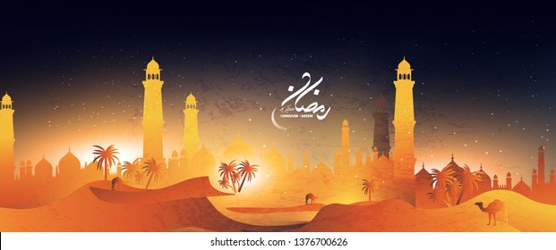 Beautiful Ramadan background with a beautiful view of a mosque in the desert with palms and camel at night time  and crescent moon islamic design with arabic calligraphy translation : blessed ramadhan