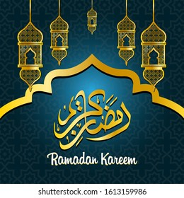 Beautiful ramadan kareem greeting card design with arabic caligraphy wich means ramadan kareem. Suitable for greeting card, flyer, poster and banner. Vector illustration