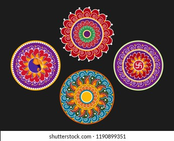 Beautiful Rangoli Design based on Florals.